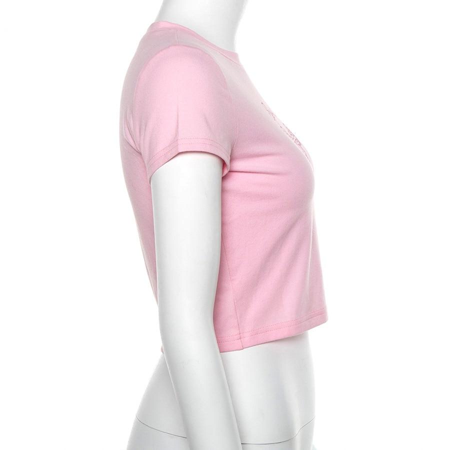 Nibber summer pink cute Butterfly print cotton crop tops women2019fashion high street casual tees Basic Slim short sleeve tshirt