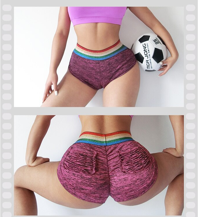 Sexy Workout Shorts Rainbow Gym Shorts Women Sport Shorts Femme Short Deportivo Mujer Ropa Mallas Cortas Spandex Fitness Shorts