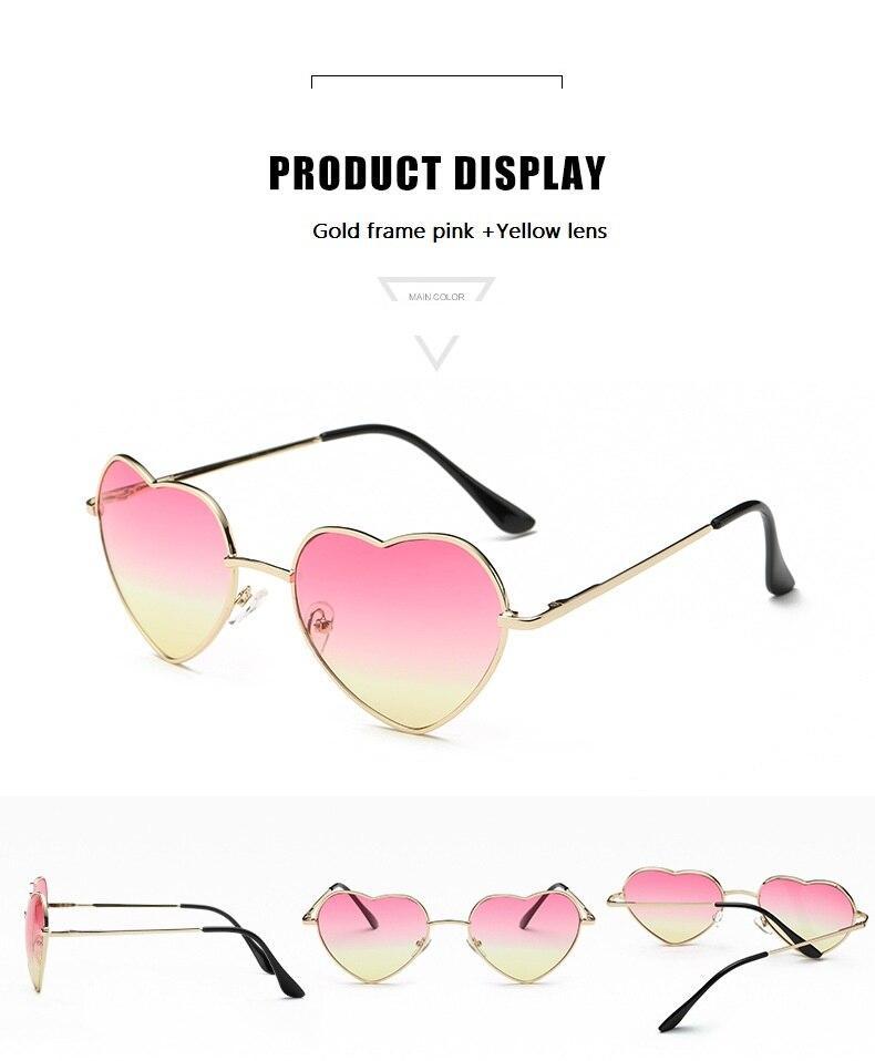 Ladies Heart Shaped Sunglasses metal Women Brand Designer Fashion Rimless LOVE Clear Ocean Lenses Sun Glasses Oculos UV400